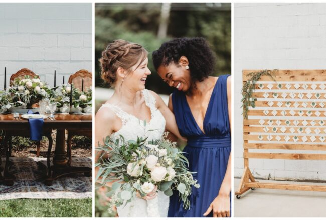 Sustainable Wedding Ideas in Navy, Gold + Greenery