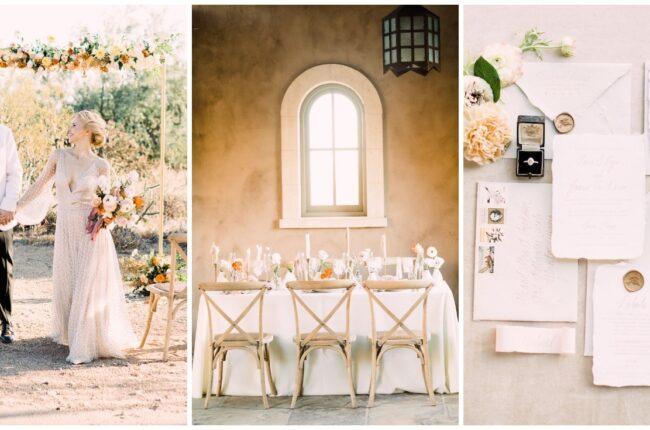 Modern Peach and Gold Wedding