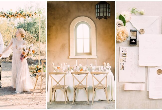 Modern Peach and Gold Elopement in Arizona