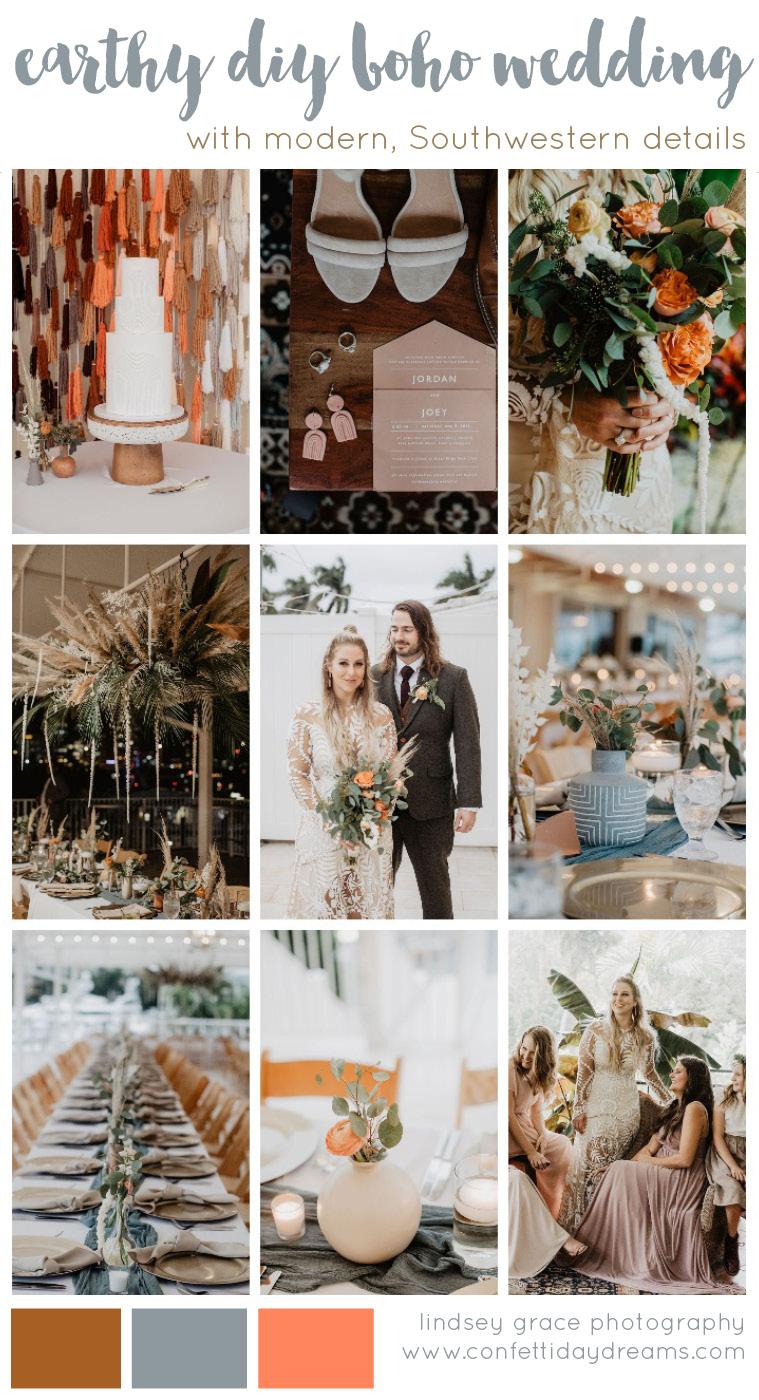 Earthy diy boho Southwestern wedding