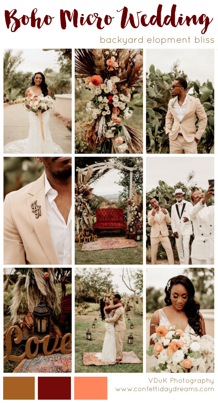 Backyard Boho Micro wedding Elopement