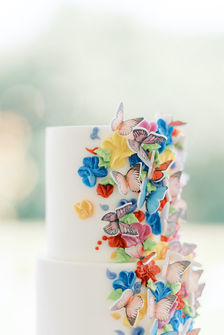 Colourful Butterly Wedding Theme Cake