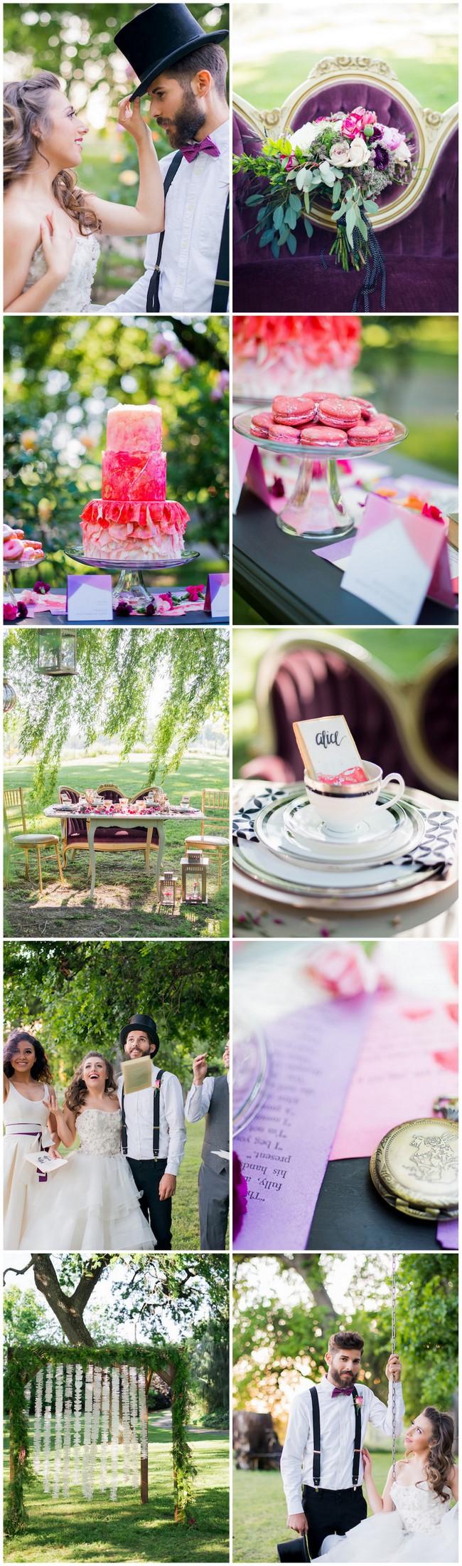 Creative + Dreamy Alice in Wonderland Garden #Wedding Ideas. Just follow the white rabbit! Pics: @kellymariephoto Click for more ideas:  https://confettidaydreams.com/alice-in-wonderland-garden-wedding/ 