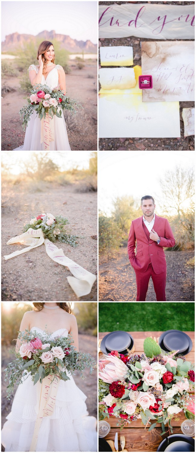 Berry Blush Desert Wedding with calligraphy script details 2