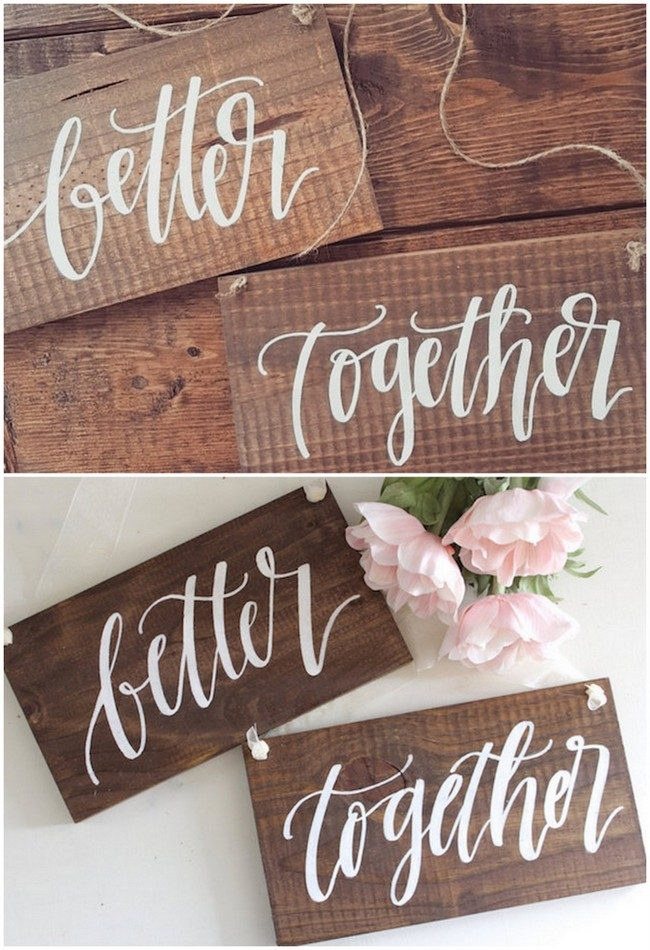 Rustic Better Together Mr and Mrs Wedding Sign for reception chairs and as photo props. See 20 more cute and creative ideas here: https://www.confettidaydreams.com/mr-and-mrs-signs/