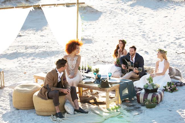 Boho beach wedding reception table and decor