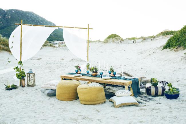 Boho beach wedding table reception and decor