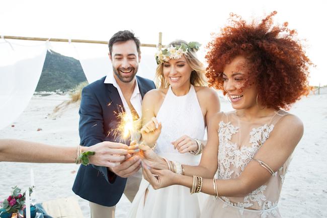 Boho beach wedding sparklers