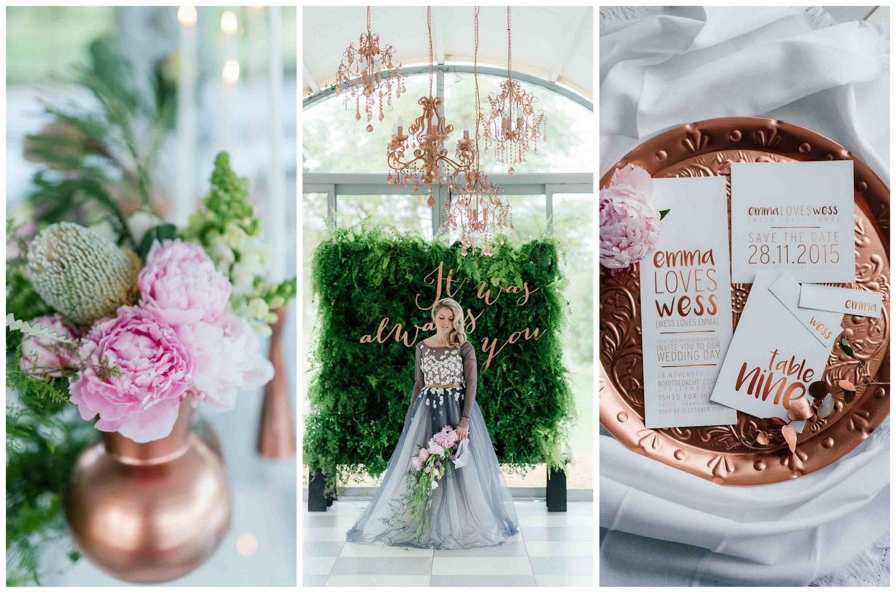 Romantic, Copper, Metallic & Blush Wedding Ideas