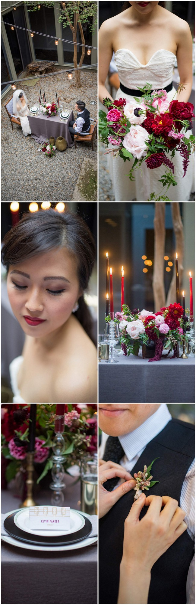 Cranberry + Navy Atrium Rooftop Wedding