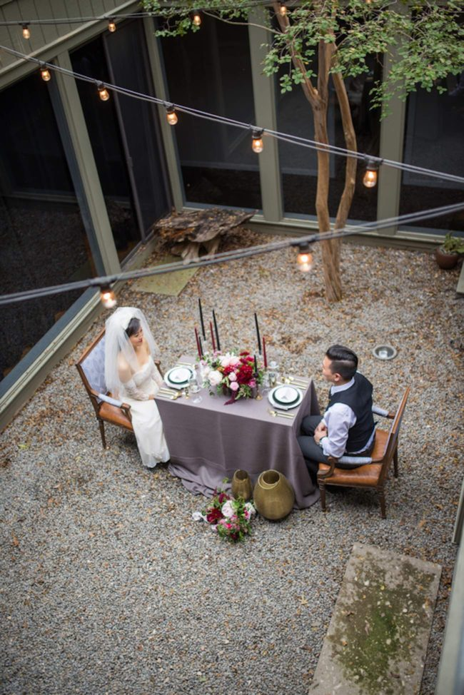 Cranberry + Navy Atrium Rooftop Wedding 20