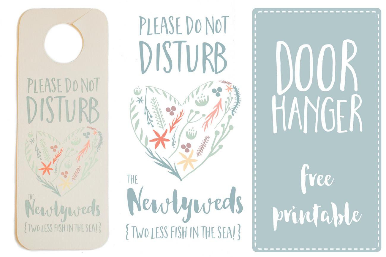 image regarding Free Printable Door Signs identified as Do Not Disturb The Newlyweds Doorway Hanger Printable Free of charge