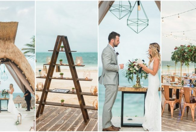 Copper, Geometric + Boho Beach Wedding in Cancun, Mexico! {Dawn Derbyshire Photography}