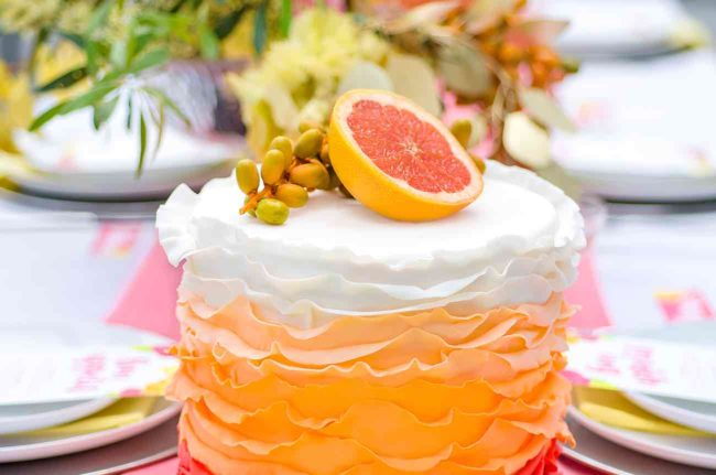 Vibrant Grapefruit, Yellow, Coral and Citrus wedding decor ideas - Kaitlyn de Villiers photography
