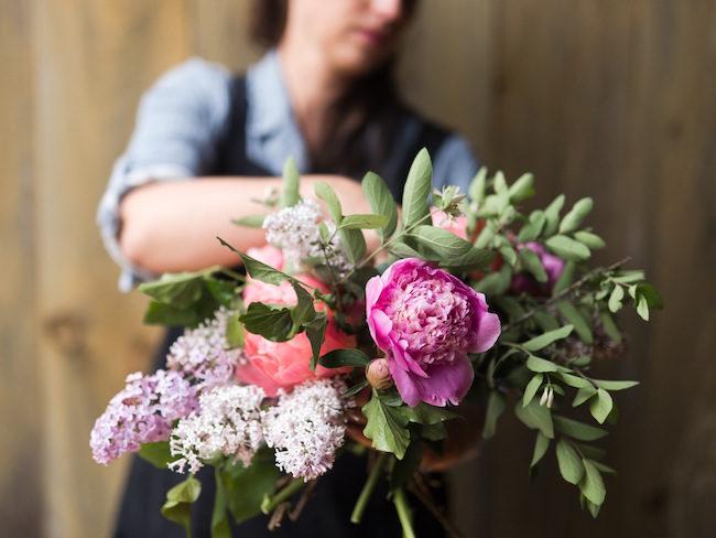 How to create a romantic, hand tied garden wedding bouquet.