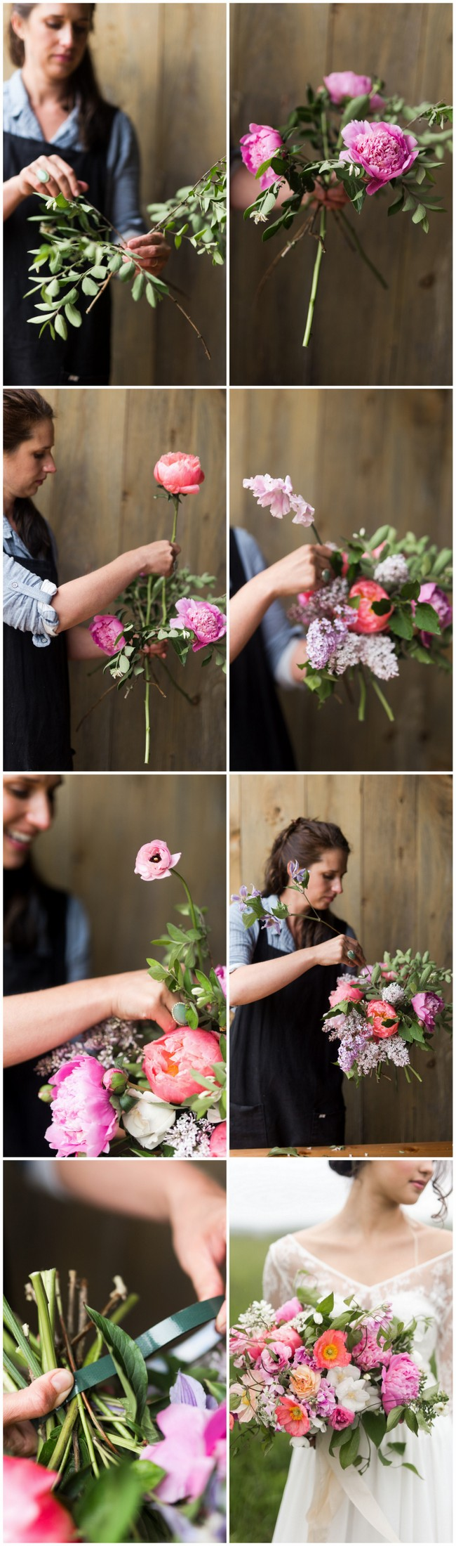 Learn how to make a lush hand tied garden bouquet. Tutorial with full instructions, flower names + photos, using peonies, ranunculus, clematis + poppies.