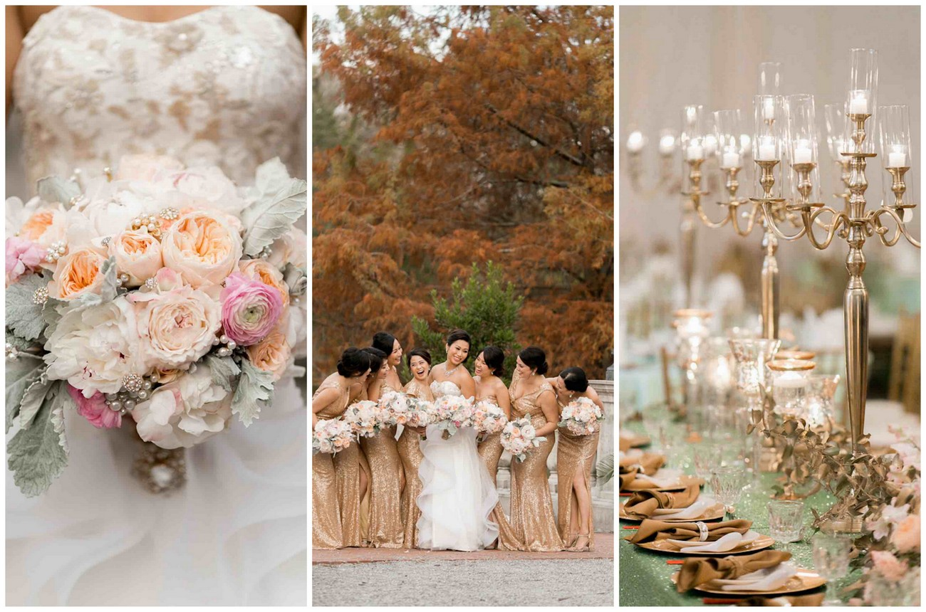 Luxurious Gold Blush Mint Wedding
