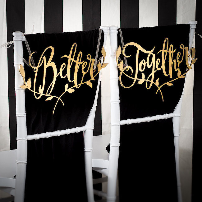 Better Together Mr and Mrs Signs for your wedding chairs. See 20 more cute and creative ideas here: https://www.confettidaydreams.com/mr-and-mrs-signs/