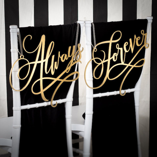Always and Forever Mr and Mrs Signs. See 20 more cute and creative ideas here: https://www.confettidaydreams.com/mr-and-mrs-signs/
