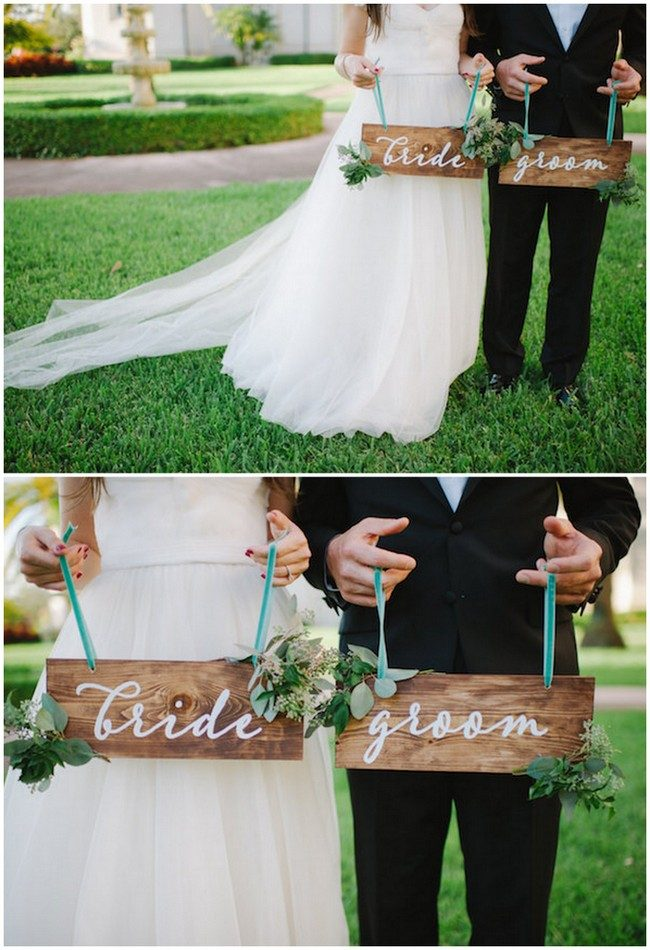 Bride and groom sign decal! Stick on the board or surface you want! See 20 more cute and creative ideas here: https://www.confettidaydreams.com/mr-and-mrs-signs/