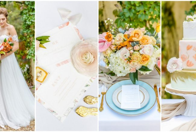 Inspiration: Peach Pink and Gold Summer Wedding Ideas {Claire Nicola Photography}