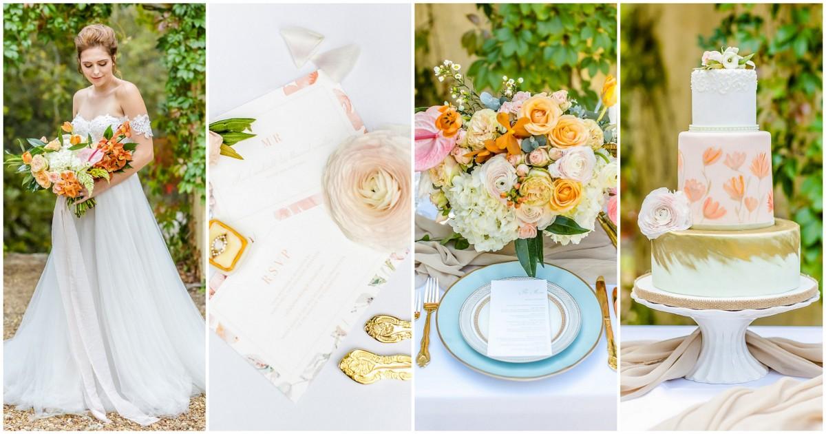 Peach Pink Gold Summer Wedding Ideas