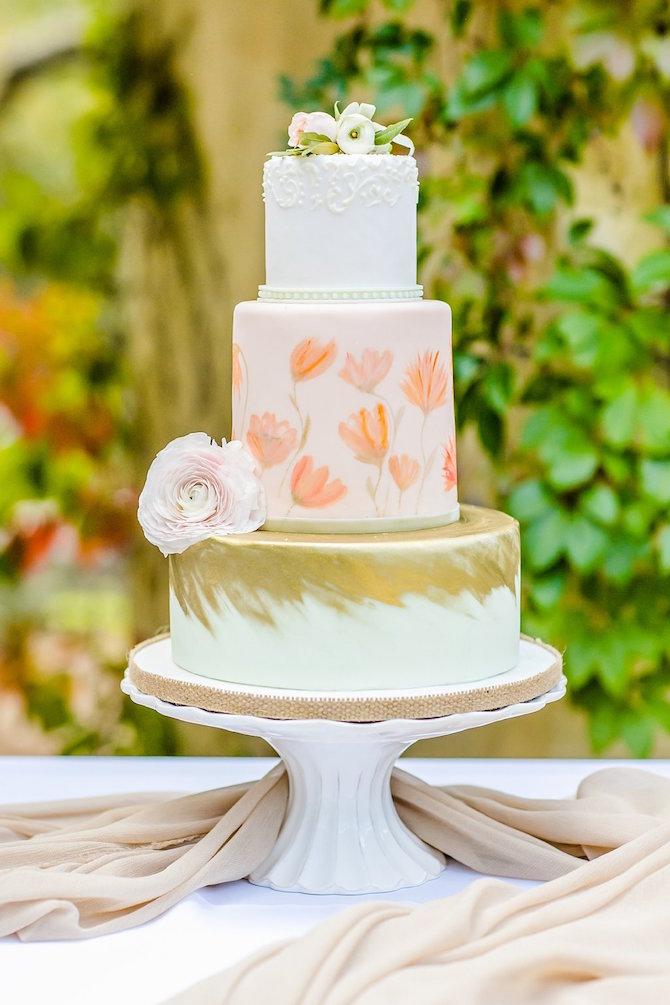 Pink Peach Gold Wedding Cake