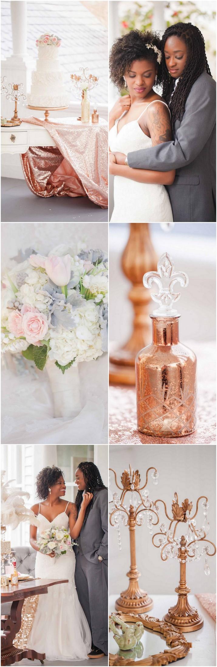 Rose Gold Ivory Glitter Wedding