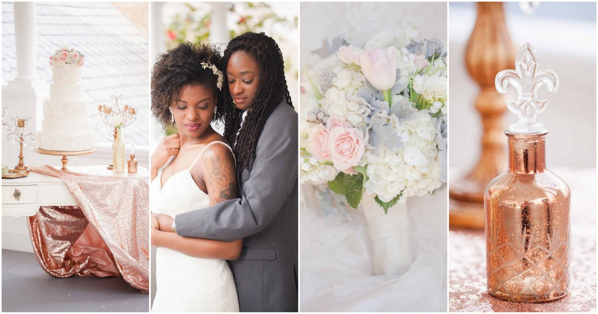 Beautiful Rose, Gold + Ivory Glitter Wedding Ideas {Casey Hendrickson Photography}