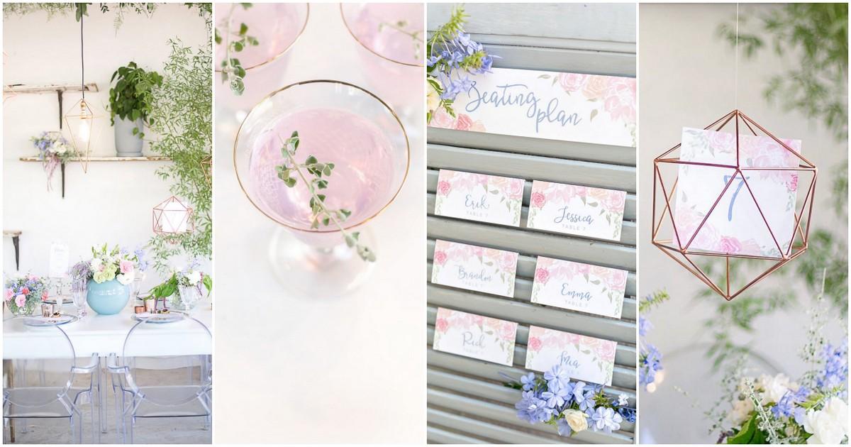 Rose Quartz Pink Serenity Blue Geometric Wedding Ideas