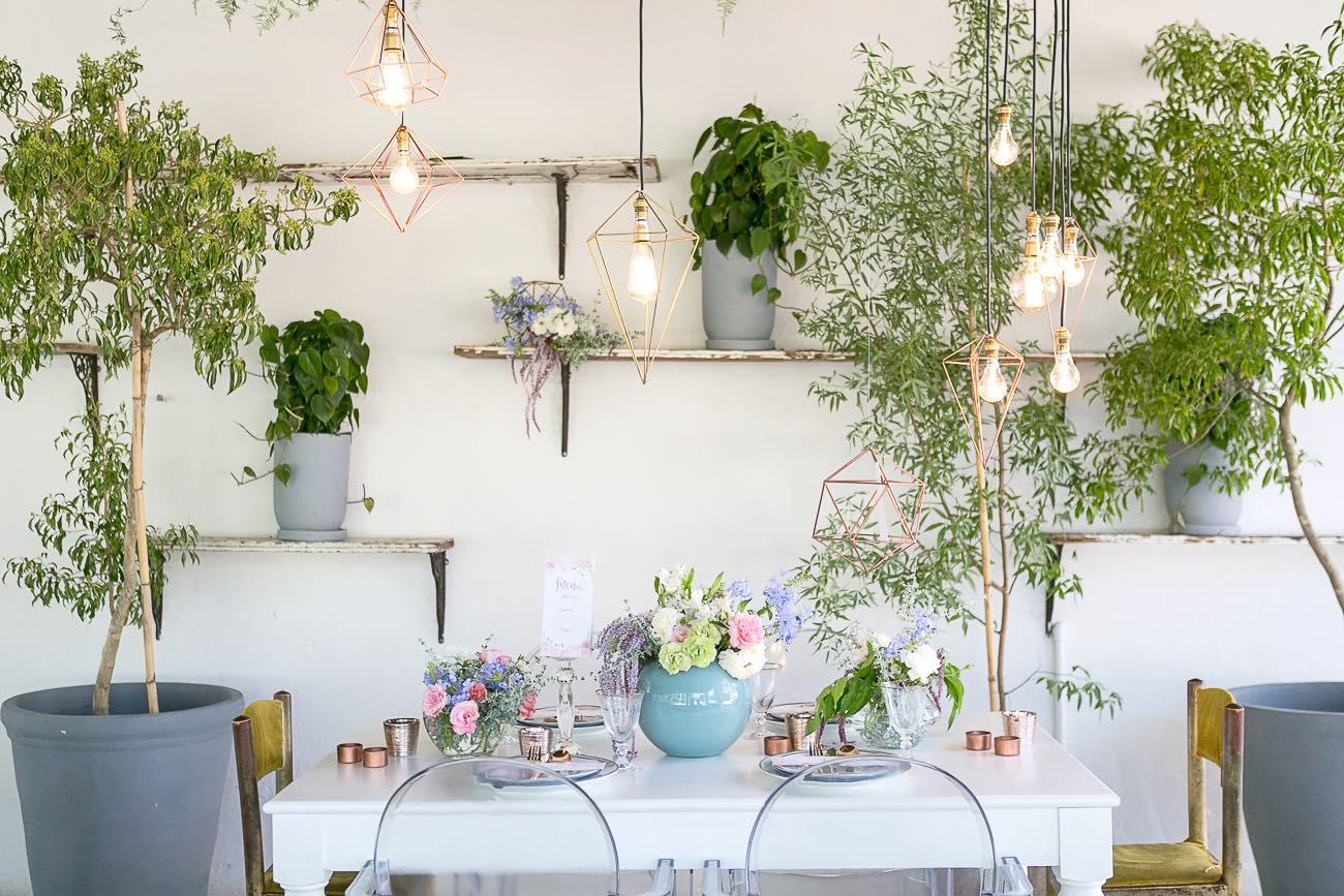 Rose Quartz Pink and Serenity Blue Geometric Wedding Ideas - Veronique Photography