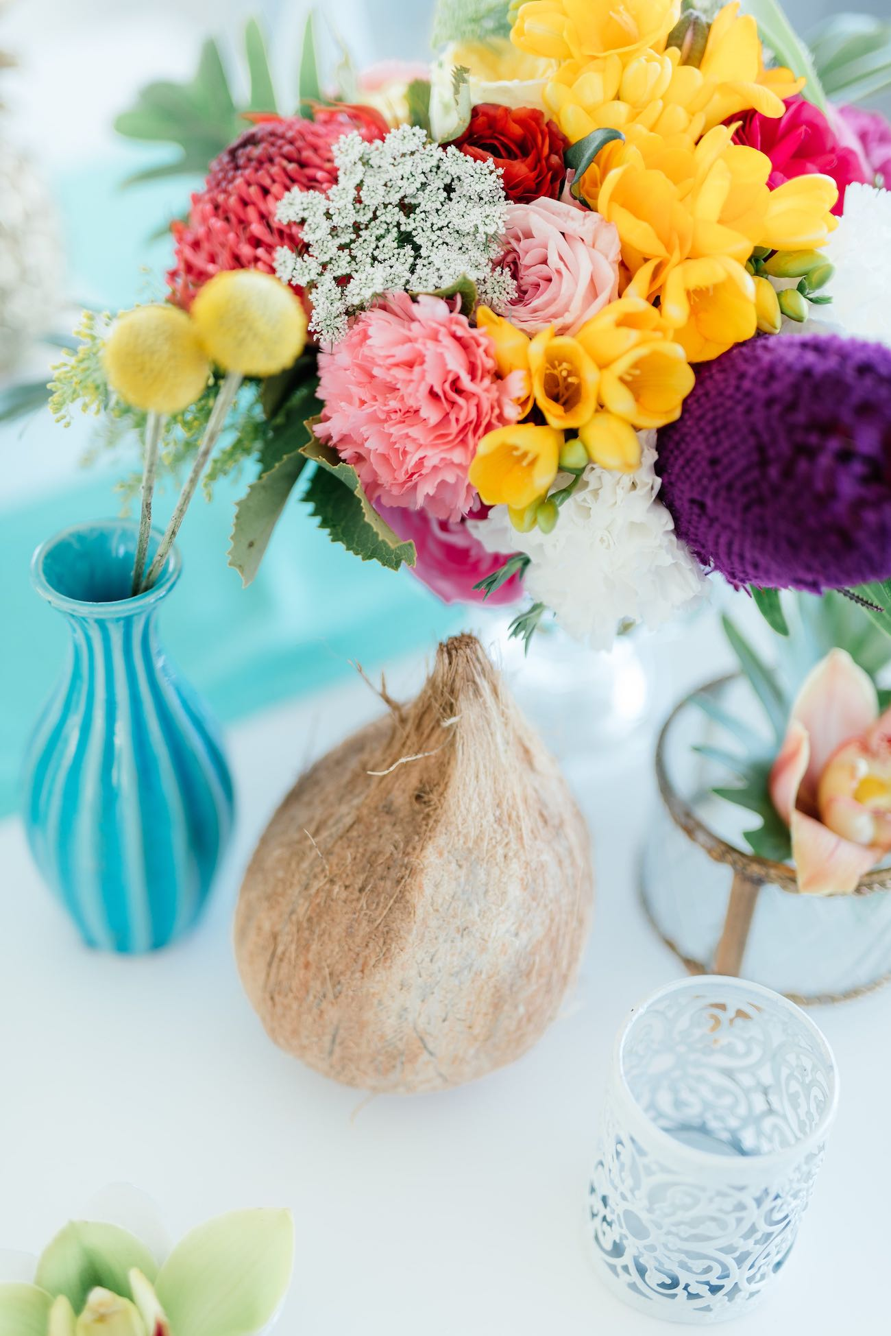 Bright, vibrant, pastel tropical wedding flowers. Click for the most absolutely gorgeous Tropical Wedding ideas ever!