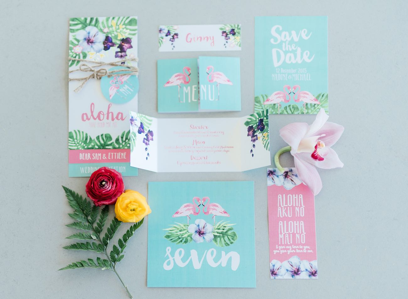 """You had me at Aloha' <3 Mint, green and pink hand painted, water color style, tropical wedding invites with beautiful ferns and flamingos. Click for the most absolutely gorgeous Tropical Wedding ideas ever!"