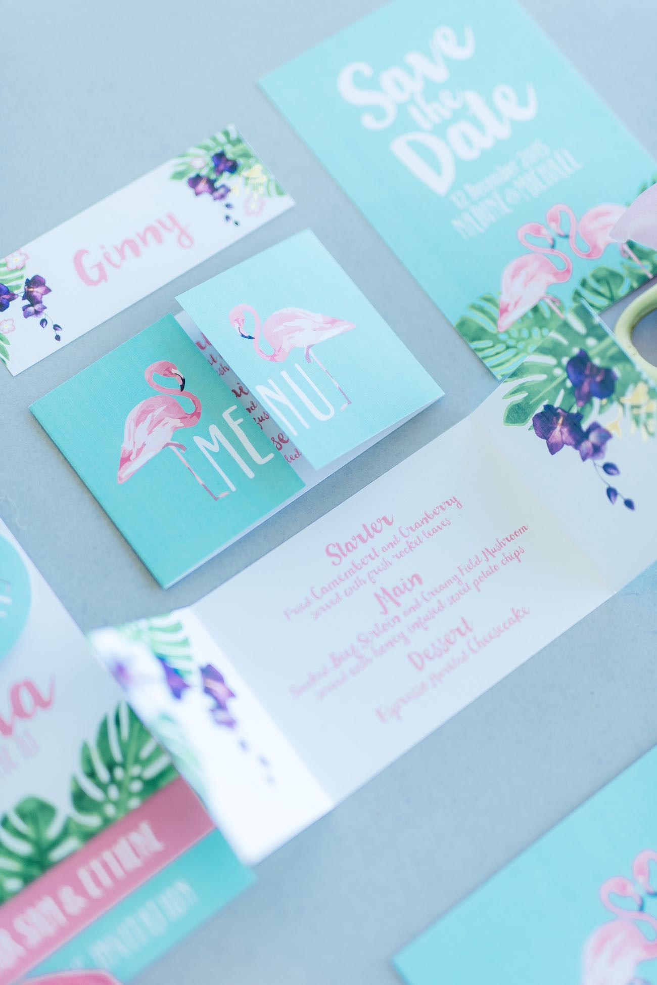 Mint, green and pink hand painted, water color style, tropical wedding invites with beautiful ferns and flamingos. Click for the most absolutely gorgeous Tropical Wedding ideas ever!