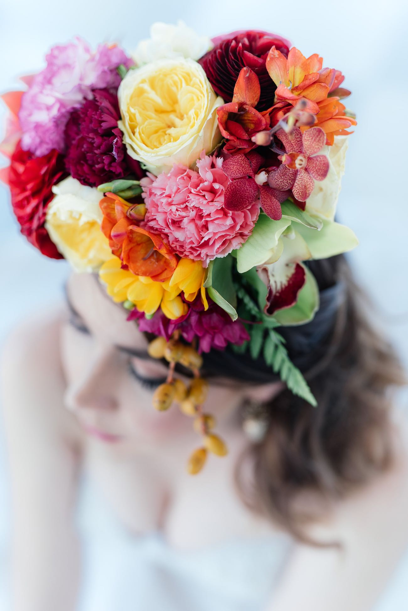 "Super cute ""tutti frutti"", Carmen Miranda style tropical flower crown for a tropical bride in bright colors. Fun and cute. Tropical Wedding Ideas photographed by Debbie Lourens Photography"