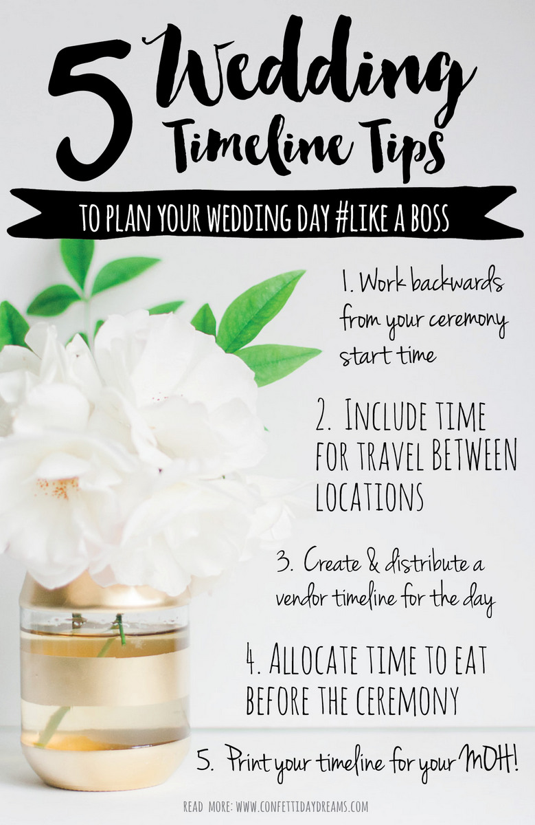 Advice for planning your wedding timeline