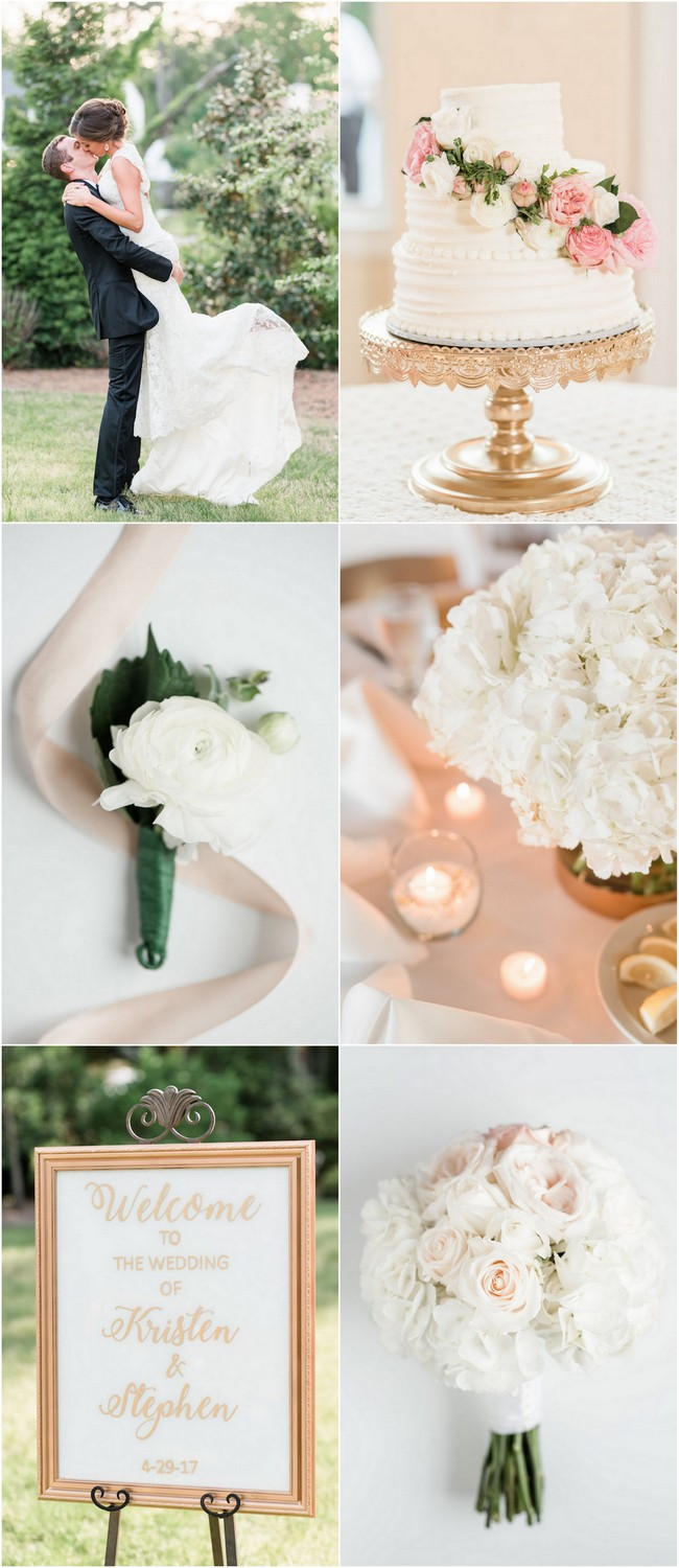 White and gold wedding reception and decor ideas